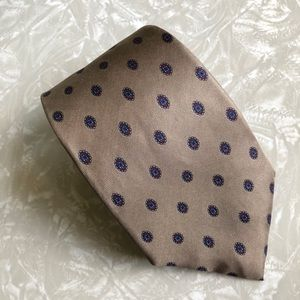 Christian Dior Tan Red Blue Circle Silk Neck Tie